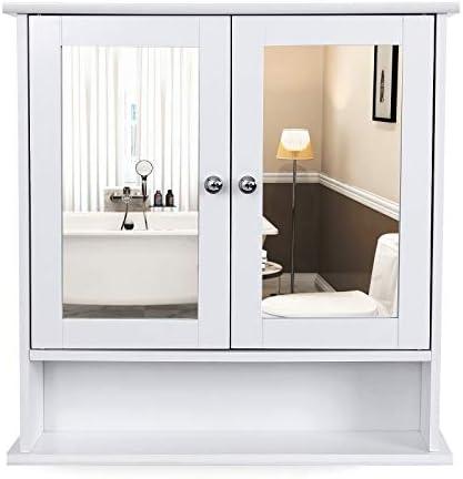 VASAGLE Armario de baño de Puerta con Doble Espejo, Armario de ...