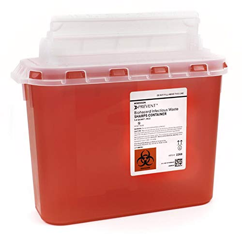 Sharps Container Prevent 2-Piece 10.75H X 10.5W X 4.75D Inch 5 Quart Red Base Horizontal Entry Lid