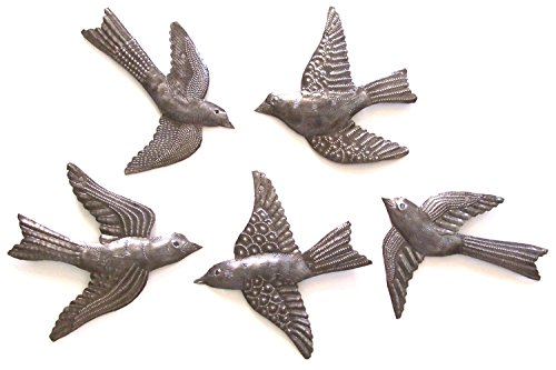 Haitian Recycled Metal Drum Wall Art Set of 5 Small Birds Flying