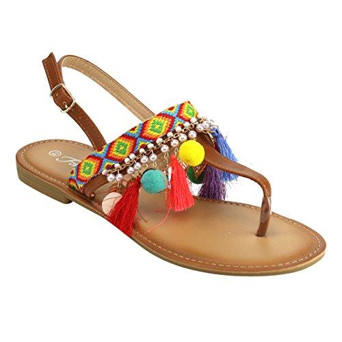 Forever If85 Kvinners Bohem Pom Pom Dusk Aztec Ankel Strap Flat Thong  Sandal Tan