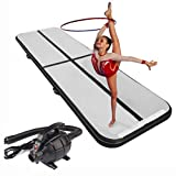 MASPORT 10ft/13ft/16ft/20ft/23ft/26ft Inflatable Gymnastics Airtrack Tumbling Mat Air Track Floor Mats with Electric Air Pump for Home Use/Training/Cheerleading/Beach/Park and Water