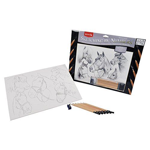 Reeves 11-1/2-Inch by 15-1/2-Inch Sketching by Number Kit, Horse Montage