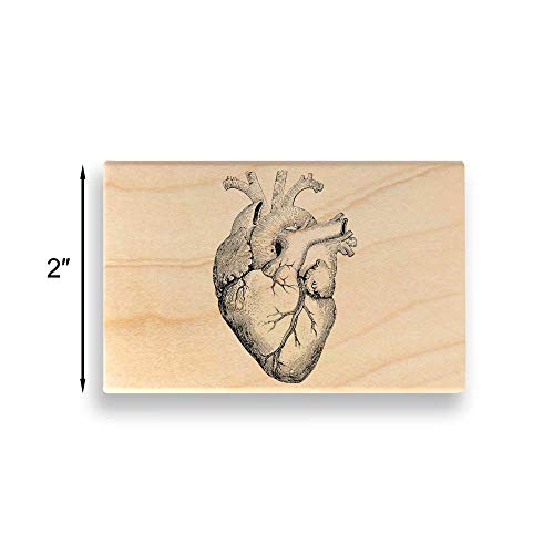 Vintage Heart Illustration Rubber Stamp - Large - 2 inches (50mm) Tall. - Select from Several Sizes - Some can be Customized with Text