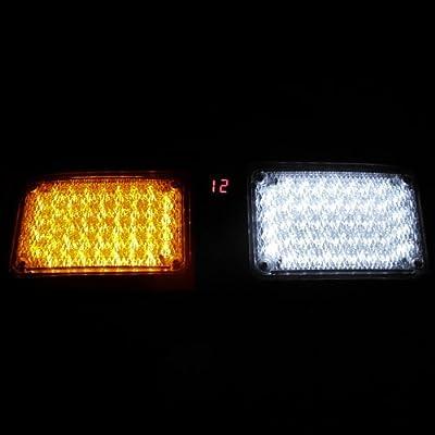 New White / Amber Emergency 86-LED Waterproof Police Fireman Truck Strobe Light #74
