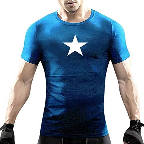 - Beautyfine Summer Star Print Short Sleeve Fashion Men T-Shirts Casual O-Neck Tops Blouse Blue