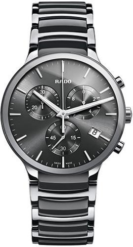 Rado-Centrix-Chronograph-Dark-Grey-Dial-Platinum-tone-Ceramic-Mens-Watch-R30122122