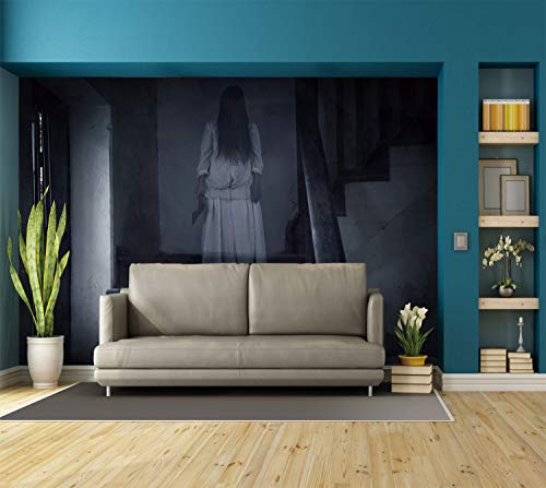 Large Wall Mural Sticker [ Halloween,Horror Scenery Ghost Girl Figure on Stairway Holding Axe Murder Violent Nightmare Decorative,Grey White ] Self-Adhesive Vinyl Wallpaper/Removable Modern Decorati for $<!--$238.99-->