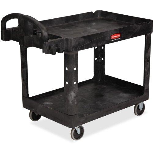 Rubbermaid Medium Utility Cart with Lipped Shelf - 2 Shelf - 500 lb Capacity - 4 x 5quot; Caster - Resin, Polypropylene - 45.3quot; x 25.9quot;33.3quot; - Black