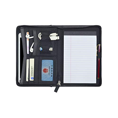 Godery Padfolio/Portfolio, Mini Leather Zippered Padfolio Portfolio Binder 5 x 8 Legal Writing Pad, Professional Business Portfolio for Men & Woman, Card Holder, Notepad Clipboard Holder (Black) (Junior Size Zippered Padfolio)
