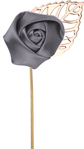 (Flairs New York Gentleman's Essentials Premium Handmade Flower Lapel Pin Boutonniere (Pack of 1 Pin, Carbon Grey [Small Rose Gold Leaf]))