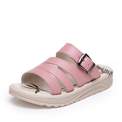 Cuero Bottom Colores Flat 3cm Bottom Tres Verano Estudiantes NVLXIE pink Playa Mujer Sandalias Zapatillas Grueso Compras qxwpta1OA0