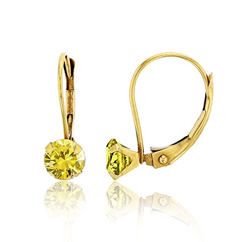 Citrine And Diamond Earrings (14K Yellow Gold 6mm Round Citrine Martini Leverback Earring)