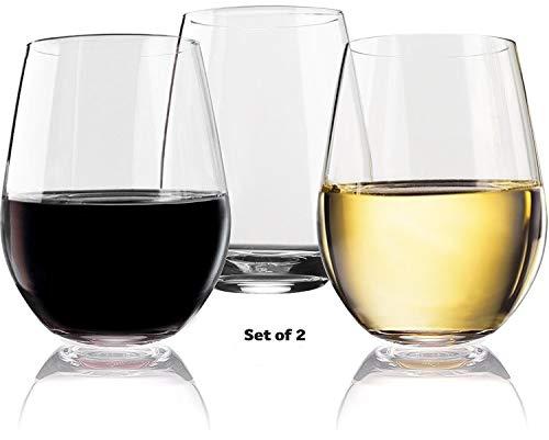 - Vivocci Unbreakable Elegant Plastic Stemless Wine Glasses 20 oz   100% Tritan Heavy Base   Shatterproof Glassware   Ideal For Cocktails & Scotch   Perfect For Homes & Bars   Dishwasher Safe   Set of 2