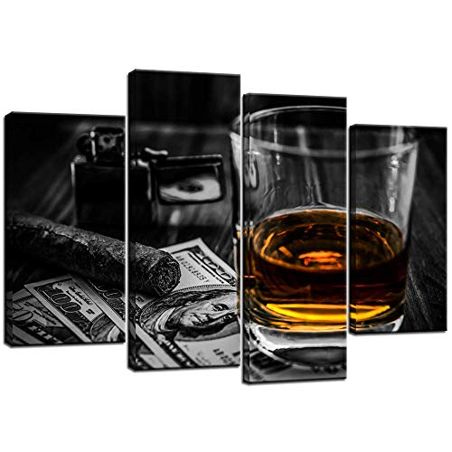 Biuteawal - Modern Canvas Wall Art Cigar and Wine Painting Glass of Wine Whiskey with Greenback Picture Print 4 Piece Cigarette Poster for Home Pub Bar Casino Wall Decoration Ready to Hang (Cigarettes Poster)