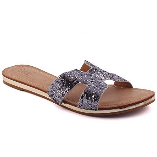 Unze Nuevas mujeres 'Keith' Toe abierto Glittered Slider Sandalias Verano Beach Party Get Together School Carnival Pantalones planos casuales zapatos UK Tamaño 3-8 Gris