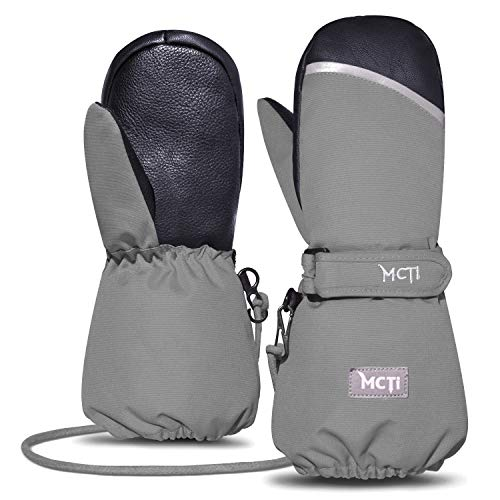 MCTi Kids Mittens Waterproof Winter Ski Snow Warm Sherpa Lined Boys Girls Long Cuff Reflector Stray On Gloves with String Grey XS