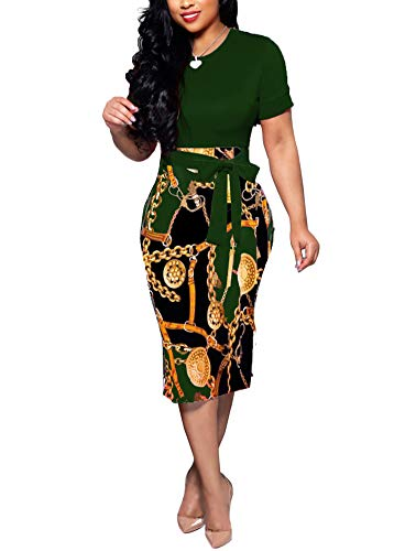 Women' Short Sleeve Bodycon Dress -Cute Bowknot Floral Pencil Dress XX-Large Dark Green