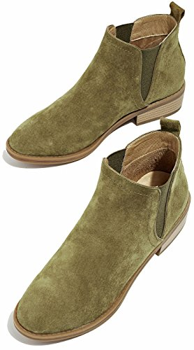 Women Comfortable With Green Army Booties Boots Ankle Leather Fall Fuax Fur Lining Classic Winter U Suede Chelsea lite Womens wZP6PX