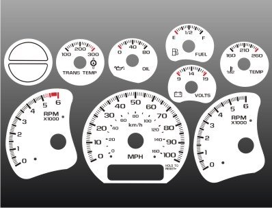 - 1999-2002 GMC Sierra 1500 2500 3500 Truck White Face Gauges