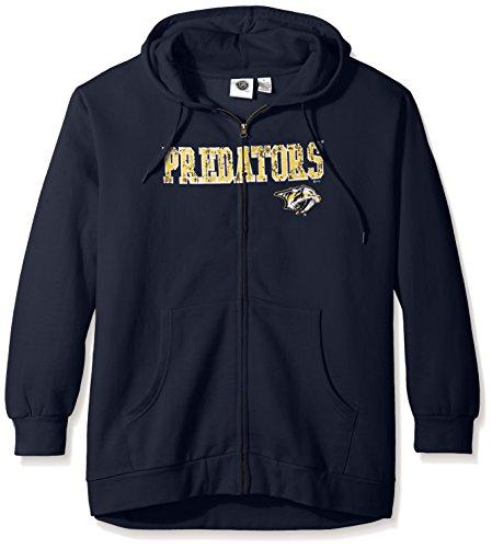 - NHL Nashville Predators Women's Full Zip Hoodie with Distress Word Mark, 3X, Navy