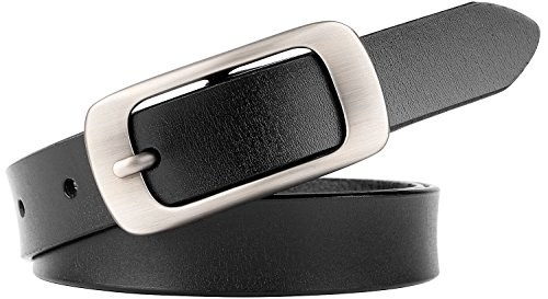 JASGOOD Skinny Jeans Leather Belt for Women Luxury Dress Belts With Classic Buckle (04 New Black)