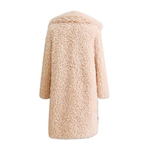 Manteau Long 3XL Fleece Fourrure Fausse Color Veste Hiver Cardigan Femmes Beige Outwear Revers Goyfeelip Taille Size Plus qtwaECwWv