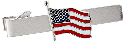 Status Men's Tie Bar With American Flag In Center, Silver, One Size by Status