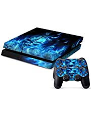 Protective Skin for Ps4 System plus 2pcs Decals for PS4 Dualshock Controller -Skull of Blue Fire