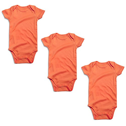 OPAWO Baby Bodysuits Short Sleeve for Unisex Boys Girls 3 Pack (6-9 Months, Orange)