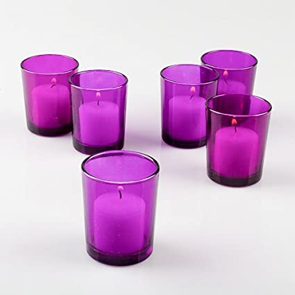 set of 12 colored glass votive candle holders purple - Colored Glass