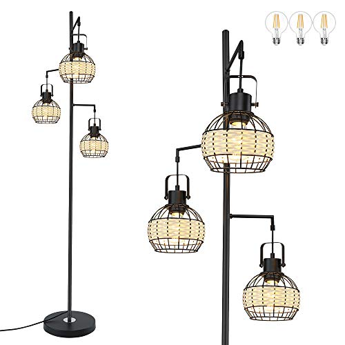 DLLT Industrial Floor Lamp, 3-Light Farmhouse Tree Standing Lamps with Metal Rattan Cage Shape Design, Tall Pole Reading…