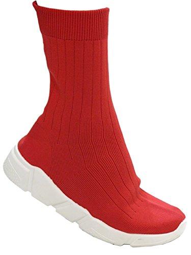 Bella Marie Topaz-5 Tobillo High Stretch Calcetín Elástico Sneaker Suela De Goma Plana Bota Red Red
