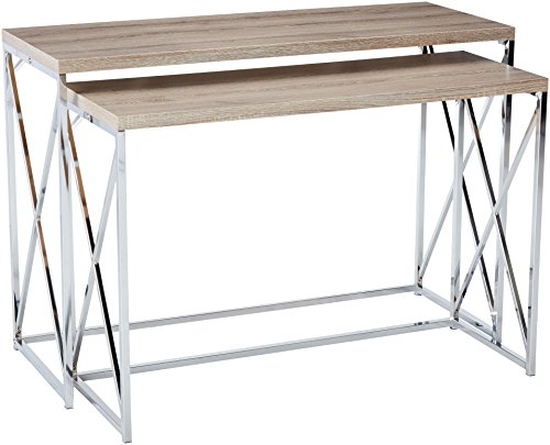 Monarch Reclaimed-Look Chrome 2-Piece Console Tables, Dark Taupe
