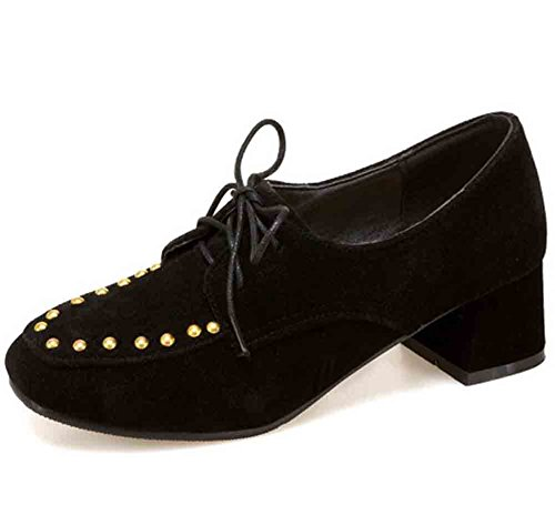 Easemax Womens Fashion Rivets Square Toe Lace Up Mid Block Heel Loafers Shoes Black 3Fgfh
