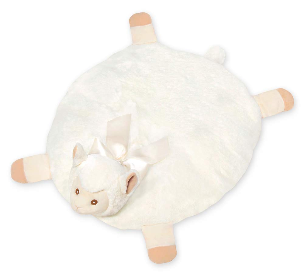 Bearington Baby Lil' Alma Belly Blanket, Llama Plush Stuffed Animal Tummy Time Play Mat