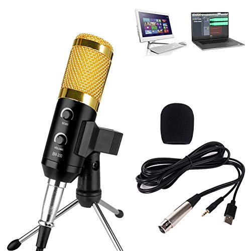 USB Condenser Microphone Unidirectional High Fidelity Mic, Cardioid Polar Pattern Mic With Volume Knob & Tripod Stand, Plug & Play for PC Laptop (Mac/Windows), Podcasting, Studio Recording (Gold)
