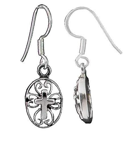 Sterling Silver Center Cross Filigree Oval French Wire Dangling Earrings