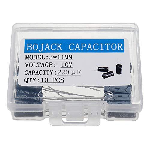 - BOJACK 5X11mm 220uF 10V 220MFD 10Voltage ±20% Aluminum Electrolytic Capacitors(Pack of 10 Pcs)