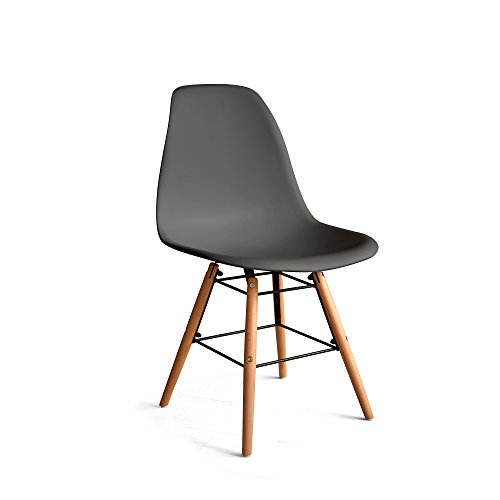 (Italian Concept, Chair Legs in Black Lacquered Wood Metal Structure Connector. SEAT BACKREST in Polypropylene, Grey,)