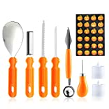 KOBWA Halloween Pumpkin Carving Tool Kit, 6 Pieces Professional Stainless Steel Pumpkin Carving Tools with 2 LED Candle Lights and Carving Templates for Family DIY Pumpkin Lantern Decoration
