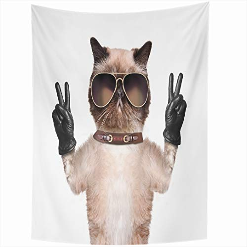 Ahawoso Tapestry 60 x 80 Inches Leather Funny Cat Peace Fingers Black Wildlife Winner Number Hand Smiley White Joyful Wall Hanging Home Decor Tapestries for Living Room Bedroom ()