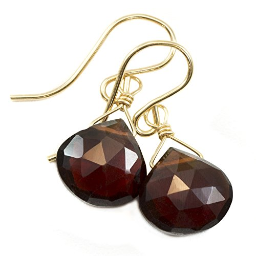 Faceted Garnet Earrings (14k Gold Filled Garnet Earrings Red Faceted Heart Briolette Teardrops Deep Rich Color Small Dainty)