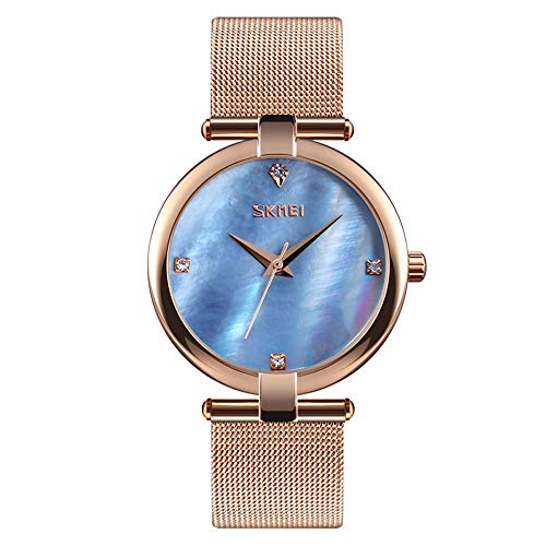 Women Watch Women Wrist Watch Waterproof Lady Quartz Watch Mother of Pearl Dial Birthday Gift with Genuine Leather Band ()
