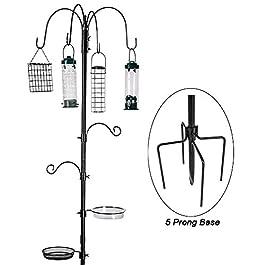 Bird Feeding Station Kit Bird Feeder Pole Wild Bird Feeder Hanging Kit Planter Hanger Multi Feeder Hanging with Metal Suet Feeder Bird Bath for Attracting Wild Birds (Black Bird Feeding Station Kit)