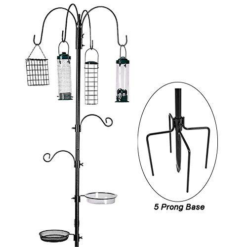 ERYTLLY Bird Feeding Station Kit Multi Feeder Hanging Kit Premium Bird Bath for Attracting Wild Birds Birdfeeder & Planter Hanger (Black Bird Feeding Station Kit) (Pole Best Feeder Bird)