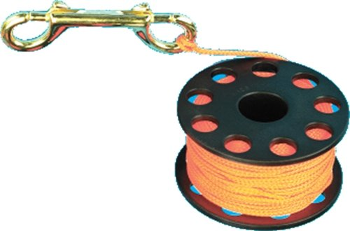 (Finger Reel with Brass Clip Wreck Scuba Diving Tech Spool 3 Sizes, MEDIUM 100 FT)