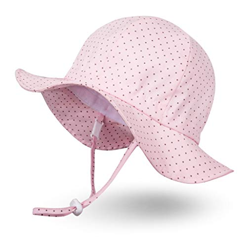 Ami&Li tots Unisex Child Adjustable Wide Brim Sun Protection Hat UPF 50 Sunhat for Baby Girl Boy Infant Kids Toddler - M: Polkadot Pink ()
