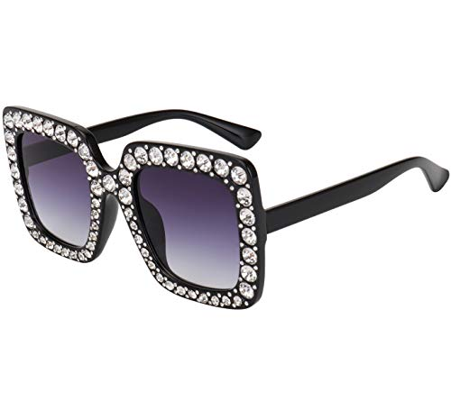 ROYAL GIRL Black Sunglasses For Women Oversized Square