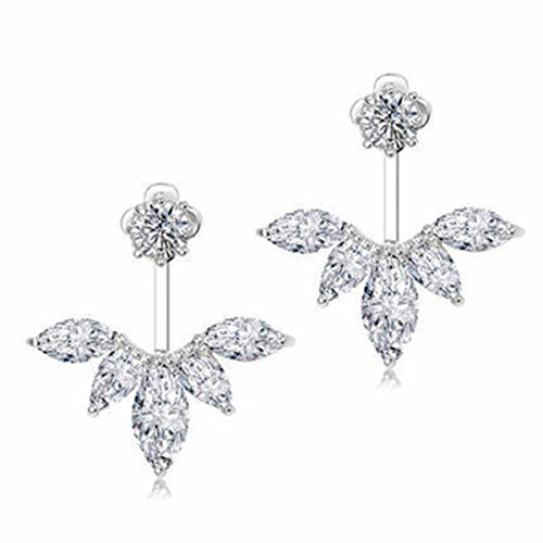 Gold Plated Wedding Earrings (Odette 18K White Gold Plated Clear Crystal Leaf Feather Ear Jacket Earrings Back Ear Cuffs Stud Earring (Silver))