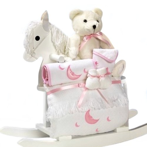 White Rocking Horse with New Baby Girl Gift Set - Great Shower Gift Idea for Newborns